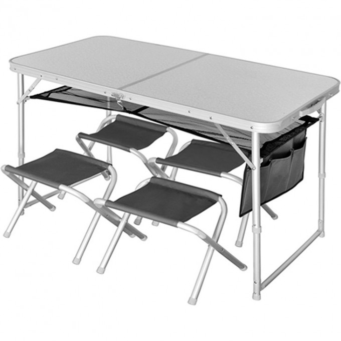 Стол складной  RUNN NF ALU 120x60 + 4 стула набор NF-20310