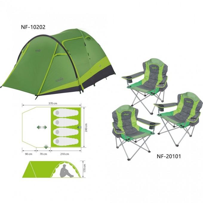 Комплект : палатка 4-х местная RUDD 3+1 NF + 3 складных кресла RAUMA NF-10202K1