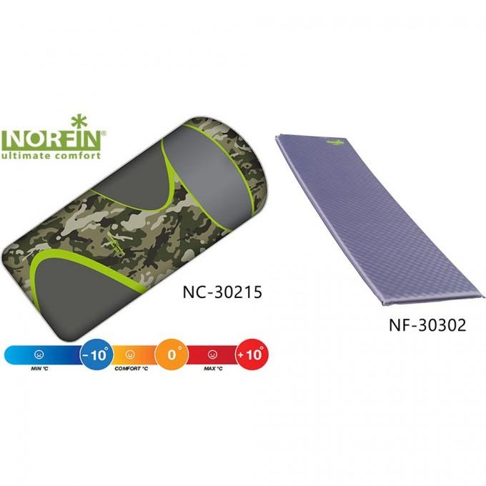 Комплект : спальный мешок-одеяло SCANDIC COMFORT PLUS и самонадувающийся коврик ATLANTIC NC-30215K1